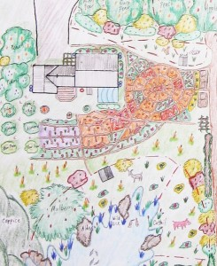 Home and business in Owl's Head.  Kitchen garden makes use of mandala keyhole geometry.